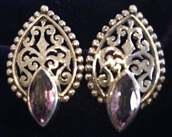 Vintage Filigree Sterling Silver Stud Earrings with Amethyst