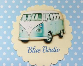 SALE! Campervan brooch campervan jewelry campervan jewelley blue camper van badge accessories VW campervan gifts vintage camper van brooch