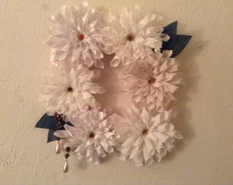White Dahlia Wreath -- Handmade