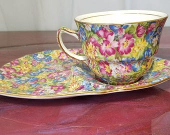 "Royal Winton Grimwades ""Joyce lynn"" Tennis/Snack set, Tea Cup and Saucer, Floral Chintz."