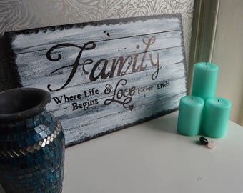 Reclaimed wood wall art Family Sign