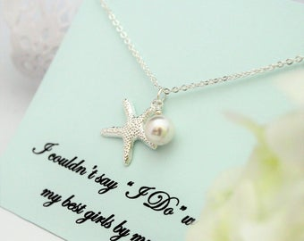 SET OF 6 Necklaces, Bridesmaid Proposal, Bridesmaid Necklace Beach Will you be My Bridesmaid STARFISH Necklace Beach Wedding Bridesmaid Gift