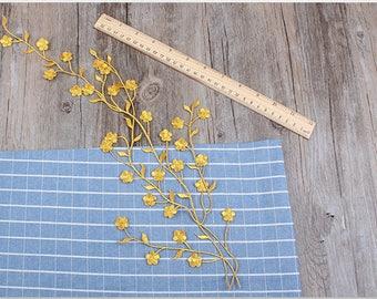 Something Golden Plum Blossom Embroidered Appliques,Adhesive Embroidered Flowers,Patches For Dress Supplies,Hair Flower,Headpiece,Lace Trim