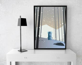 Blade robot, Print, illustration, art.