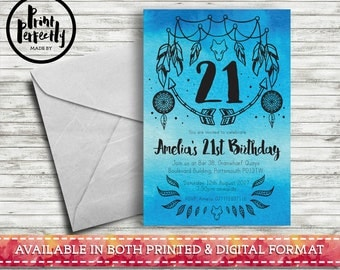 WATERCOLOUR Bohemian Wolf - Luxury Customised Birthday Party Invitations (Printed & Digital)