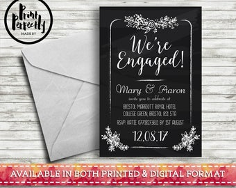 Chalkboard Floral We're Engaged - Luxury Customised Engagement Party Invitations (Printed & Digital)