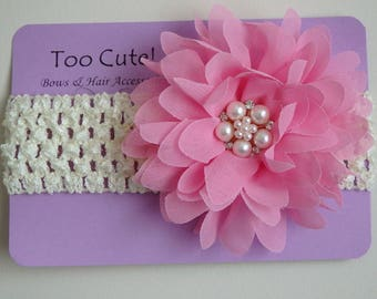 Cream and Pink Floral Headband with Pearl and Rhinestone Embellishment