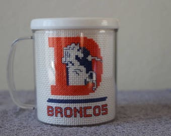 """Finished Counted Cross Stitch NFL """"Denver Broncos"""" White Rimmed Mug, Perfect Original Gift For The Fan!"""