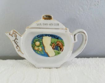 Vintage Tea Bag Holder / California Souvenir