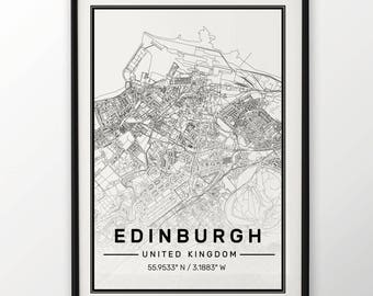 Edinburgh City Map Print, Modern Contemporary poster in sizes 50x70 fit for Ikea frame All city available London, New york Paris Madrid Rome