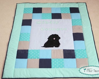 Dog baby blanket | dog nursery quilt | baby blanket mint and blue
