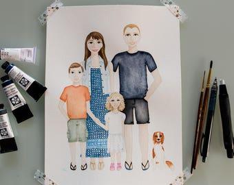Custom Watercolour Family Portrait, Original A4 Family Artwork, Custom Friend Art