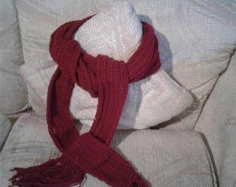 Burgundy Crocheted Scarf Extra Long