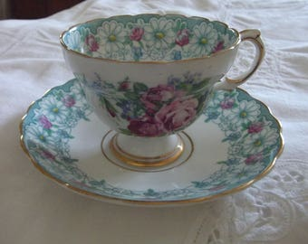 Vintage Rosina Bone China Tea Cup and Saucer Made in England - Pink Cottage Roses & Blue Flowers design with Daisy border