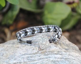 Black N Silver Leather Wrap Bracelet, Superduo Beads, Wrap Bracelet