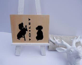 Handmade Bathroom sign, Toilet sign, Restroom sign, Customised Toilet sign, Custom bathroom sign, Dog lovers - Design2