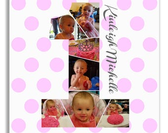 Baby's First 1st Birthday collage - baby girl, personalized - Print or Canvas