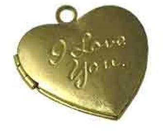24 pcs Raw Brass Heart Locket with the words-I love you on front, 1406HT