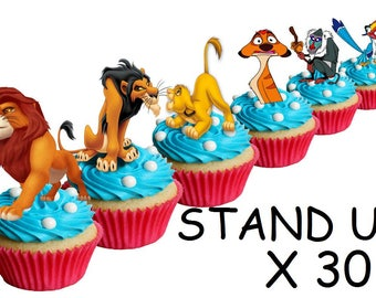 30 X Lion King Edible Rice Fairy Paper Cupcake Cake Toppers Decoration Stand Up