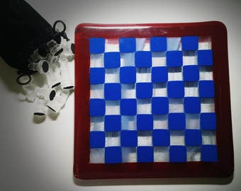 "Fused Glass Chessboard 7.5"" by 7.5"""