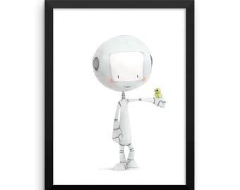Robot with Bird Framed Nursery Print