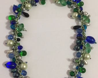 Gorgeous Vintage Poured Glass And Pearl Bead Necklace