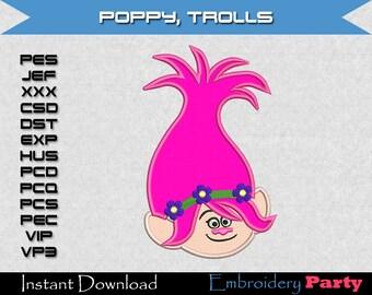 Trolls Poppy Applique Machine Embroidery - Instant Digital Download design pattern alphabet letter jef hus pes troll