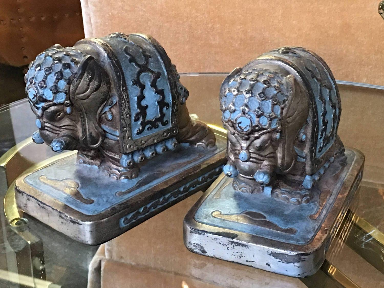 Armor bronze elephant bookends - Armor bronze bookends ...
