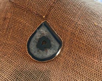 Brilliant Blue Agate Slice Pendant with Druzy Quartz