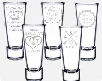 Personalized Wedding Favor Shot Glasses, Custom Wedding Favor Shot Glasses, Custom Wedding Party Shot Glasses,Engraved Wedding Favor Glasses