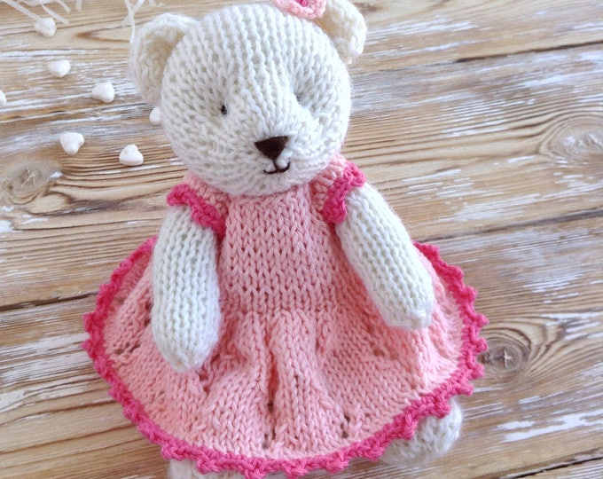 PREORDER Hand Knitted Teddy Bear, Knit Animals, Stuffed Soft Toy Teddy, Newborn Photo Props, First Toy 6 inches