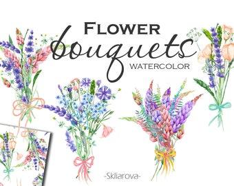 Watercolor flower bouquet Digital flower Floral illustration Handpaint flower Wildflower bouquet Bouquet clipart Wildflower clipart
