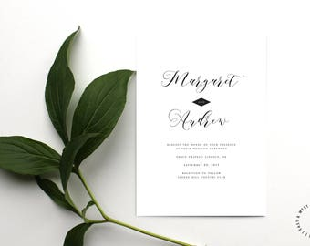 Calligraphy Wedding Invitation Template, Modern Calligraphy Wedding Invitation, Printable Modern Wedding Invitation, Customizable Invitation