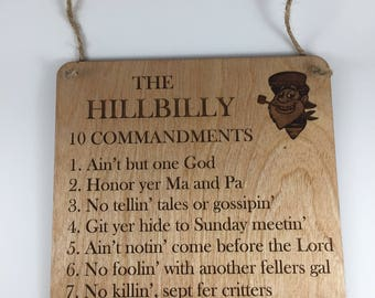 Hillbilly Ten Commandments Sign