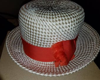 Vintage draw hat by Schiaysarelli in Paris with orange ribbon