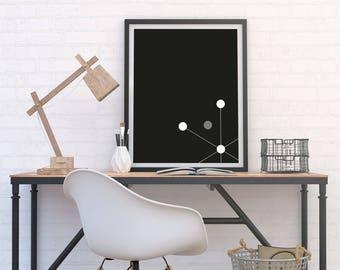Sputnik Inspired Dot Pattern Print, Minimalist Poster, Monochrome Art, Geometric Graphic Home Decor, Black & White Modern Printable Download