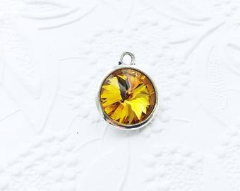 2 Birthstone Charm, November Birthstone,  Yellow Topaz Charms,  21mm x 17mm,  CRGL002