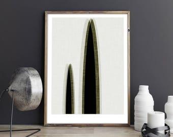 Cactus geometric print, abstract print, minimalist print, midcentury modern print, nature prints, room decor, office wall art