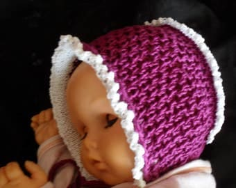 """Baby Hat bonnet in colour """"Berry"""" new and in dualisieren bar"""
