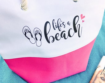 Life's a Beach Tote, Beach Tote Bag, Canvas Tote Bag, Beach Bag, Swimming Tote, Beach Tote, Life's a Beach, Summer Tote