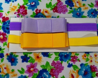 Wide Purple and Yellow Baby Headbands