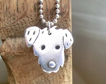 Wiry dog necklace handmade in fine silver with chain or leather cord