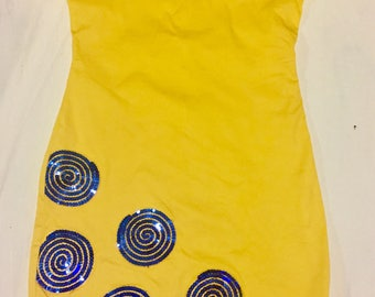 Hand Made Blue Sequin Yellow Dress
