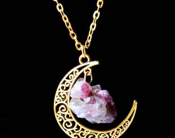 Natural Amethyst Moon Necklaces