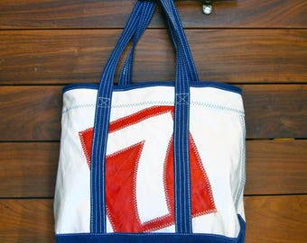 Custom DaySailer - Tote, Personalized Bag, Repurposed Sail Bag, Handbags, Beach Bag, Wedding Bag