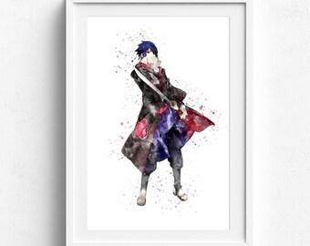Sasuke poster, sasuke uchiha, sasuke naruto, sasuke print, susake uchiha poster, naruto poster, naruto anime, naruto wall art, anime naruto