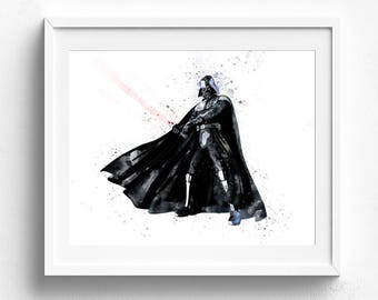Darth vader poster, Darth Vader Star Wars Art Print, Star Wars Poster, Star Wars Print, Watercolor Star Wars, Wall Art, Art Decor Star Wars