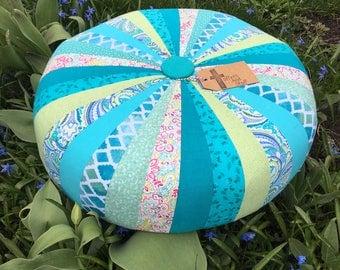 Turquoise Waters Hand sewn, Custom Tuffet