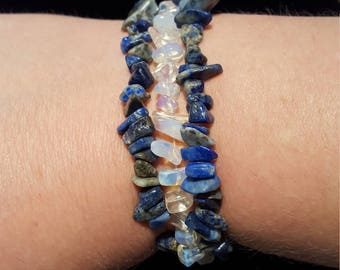 lapis and moonstone chip stretch bracelet