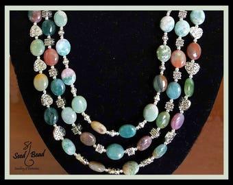 3-tier Jasper, Jade and Opal necklace